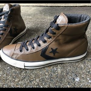 Men's Converse Hightop Brown Leather Sz 11M